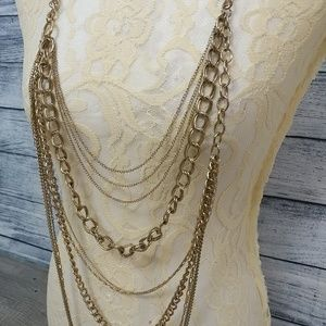 Long multi-chain layered necklace